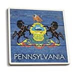 Cheap Lantern Press Rustic Pennsylvania State Flag (Set of 4 Ceramic Coasters – Cork-Backed, Absorbent)
