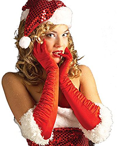 Red Satin Miss Santa Gloves Costume Accessory ()