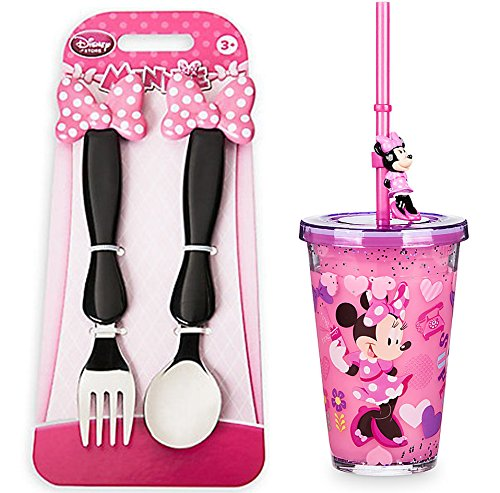 Minnie Mouse Tumbler (Disney Minnie Mouse Tumbler Drinking Cup with Straw Clubhouse Fork & Spoon Flatware Set)