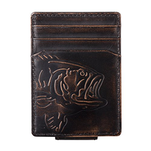 - HOJ Co. BASS FISH Front Pocket Wallet-Strong Magnetic Closure-Slim Money Clip Wallet