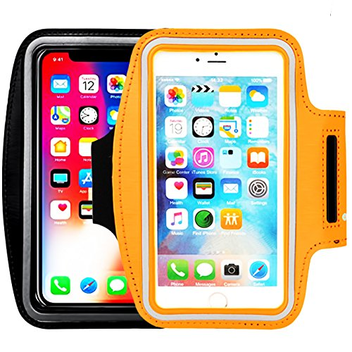 [2pack]Universal sport Running Exercise Gym Sport armband, iEugen Case for iPhone X,8Plus/iPhone 7 Plus/iPhone 6 Plus/6s Plus, with Key Holder & Card Slot, Water Resistant-black+orange