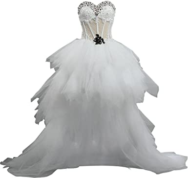 Ants Crystal High Low Tulle Wedding Dress Short Front Long Back At