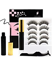 Venus Visage Upgraded Magnetic Eyeliner and Eyelashes Kit, Magnetic Eyelash with Eyeliner, False Lashes 5 Pairs with Tweezers, Thick Curly Lashes with Waterproof Texture, Easy to Wear and Reusable