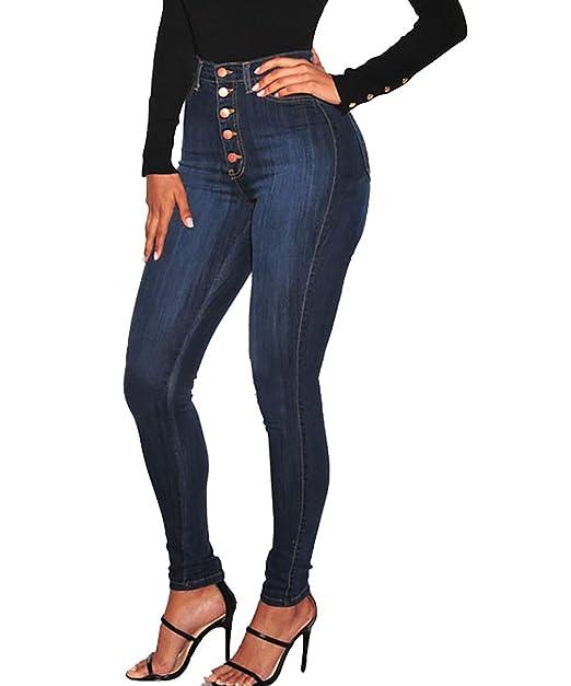 Amazon.com: VICVIK pantalones vaqueros de cintura alta sexy ...