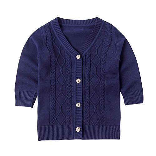 SMILING PINKER Baby Boys Girls Cardigans V-Neck Solid Sweaters Cable Knitted Button Coats Outwear (2-3t, Navy Blue)