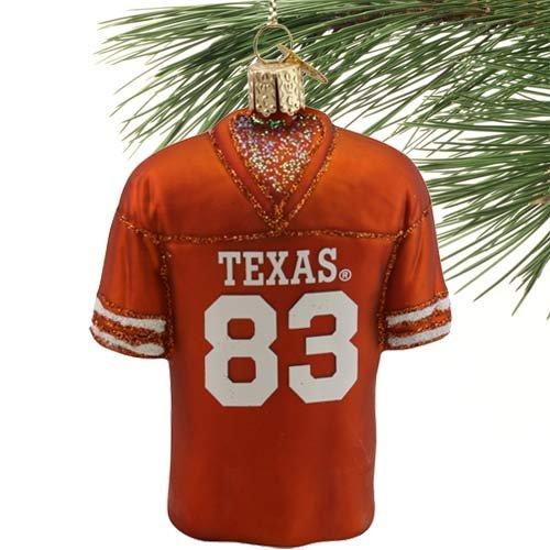 NCAA Texas Longhorns #83 Burnt Orange Glass Football Jersey Ornament