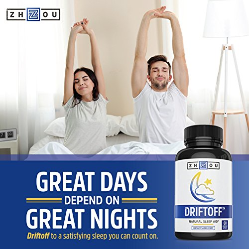 Driftoff Natural Sleep Aid with Valerian Root & Melatonin – Sleep Well, Wake Refreshed – Non Habit Forming Sleep Supplement – Also Includes 5 HTP, Chamomile, Ashwagandha & More – 60 Veggie Capsules