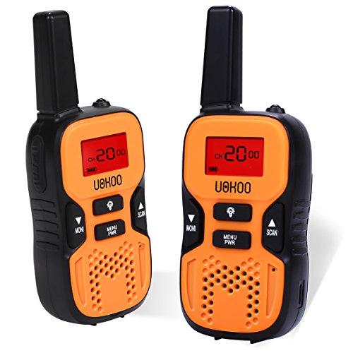UOKOO Kids Walkie Talkies, 22 Channel FRS/GMRS 2 Way Radio 2 miles (up to 3.7 Miles) UHF Handheld Walkie Talkies for Kids (1 Pair) Orange