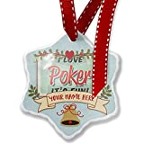 Add Your Own Custom Name, I Love Poker, Vintage design Christmas Ornament NEONBLOND