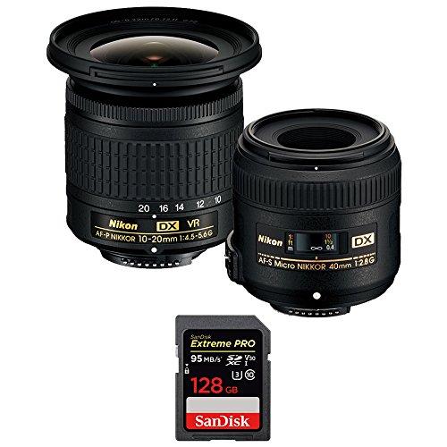 Nikon 13534 Landscape and Macro Two Lens Kit with AF-P DX 10-20mm VR & AF-S DX 40mm Lens + Sandisk Extreme PRO SDXC 128GB UHS-1 Memory Card (Lens Kit Two)