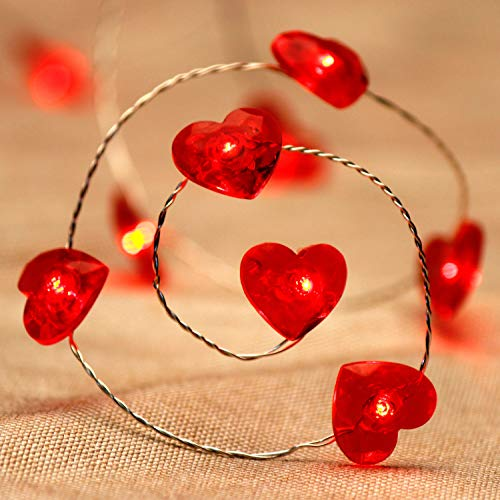 Expressing Love String Lights, 10 ft 40 LEDs Patriotism Red Heart Fairy Lights Battery-Powered with Remote for July 4th, Independen, Valentine, Anniversary, Dinner, Date, House, Party -