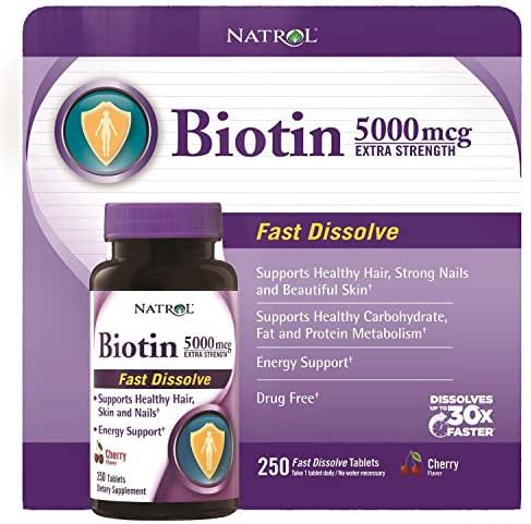 Natrol Biotin 5000mcg Extra Strength, Cherry Flavor (250 Tablets)