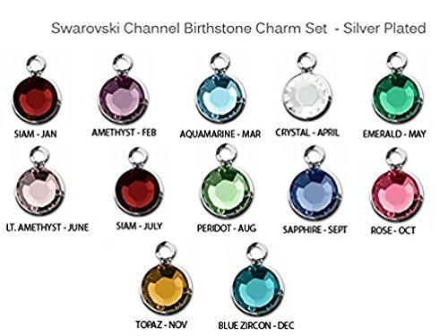 (BeadWholesaler 120pc Set of Genuine Swarovski 6.6 x 4.6mm (4mm Stone) Birthstone Channel Charms Silver Plated)