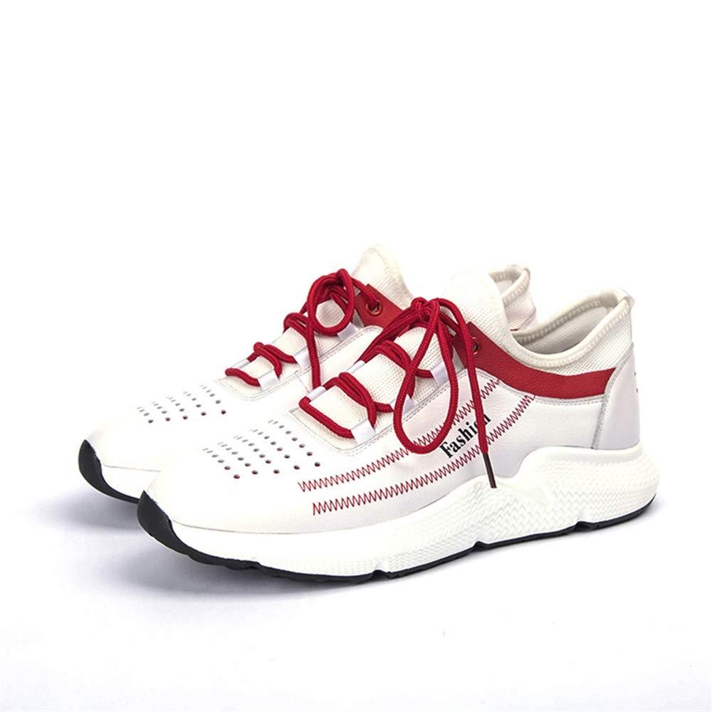 Qiusa Schnüren Sie Sich zufällige Laufschuhe für Männer Breathable Shock Absorbing Durable schuhe (Farbe   Weiß, Größe   EU 39)