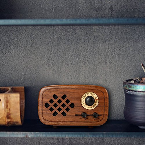 Rerii Handmade Walnut Wood Portable Bluetooth Speaker, Bluetooth 4.0 Wireless Speakers with Radio FM/AM, Nature Wood Home Audio Bluetooth Speakers with Super Bass and Subwoofer by Rerii (Image #4)