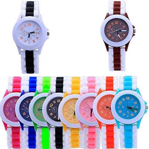 Yunanwa 10-Pack Jelly Women's Dress Watch Ladies Silicone Clock Relogio Feminino (Jelly Clock)
