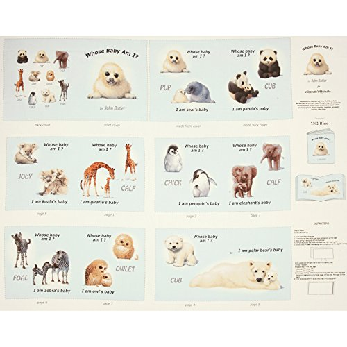 Elizabeth's Studio Animal Friends Soft Book Panel Blue Fabric