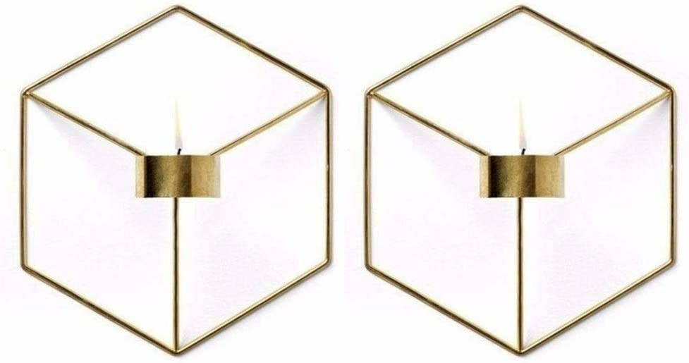 Pcs of 2 Nordic Style 3D Metal Geometric Wall Hanging Tealight Candle Holder Sconce Home Decor Living Room Wedding Coffee Bar Wall Decoration (Gold)
