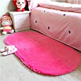 moonrug Ultra Soft Fluffy Oval Area Rugs Shaggy Living Room Rug Solid Color Non-slip Bedroom Bedside Rug Runners 2.7' x 5.3', Hot Pink