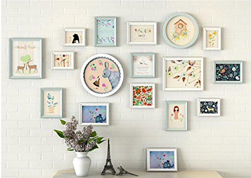 Home@Wall photo frame Photo Gallery Frame Set Of Wall With Usable Artwork And Family, Set Of 16 ( Color : D ) by ZGP