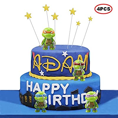 "BoBc Teenage Mutant Ninja Turtles Series 2 3"" Action Figure Toys of 4pcs TMNT/ Teenage Mutant Ninja Cake Toppers Picks for Kids Birthday Party,Baby Shower Cake Decorations"