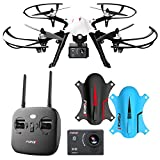 F100 Ghost Drone with Camera - 1080p Remote Control Brushless Drones w/ Go Pro Action Video Camera Mount & Extra Battery – Long Range RC Quadcopter Drone