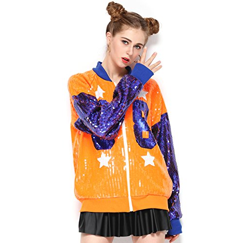Sparkle Sequin Letter Jacket Coat - Glitter Long Sleeve Jacket for Women by IMAGICSUN (Image #6)