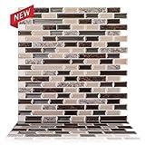 "mosaic tile backsplash  - 12"" x 12"" Premium Anti Mold Peel and Stick Wall Tile in Como Crema (10 Tiles)"