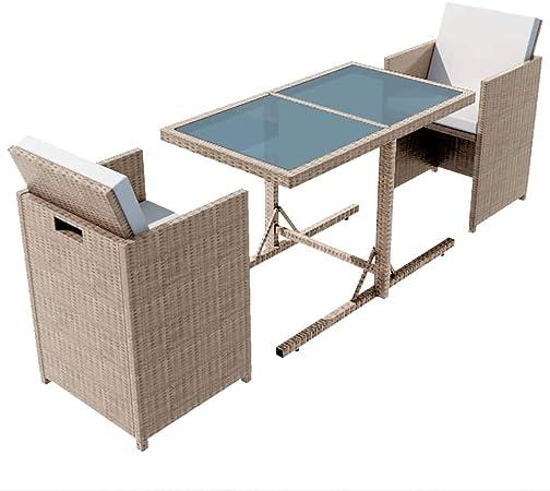 vidaXL - Juego de Muebles de jardín (7 Piezas) Conjunto de Muebles de jardín de ratán sintético, Color Gris y Beige: Amazon.es: Juguetes y juegos