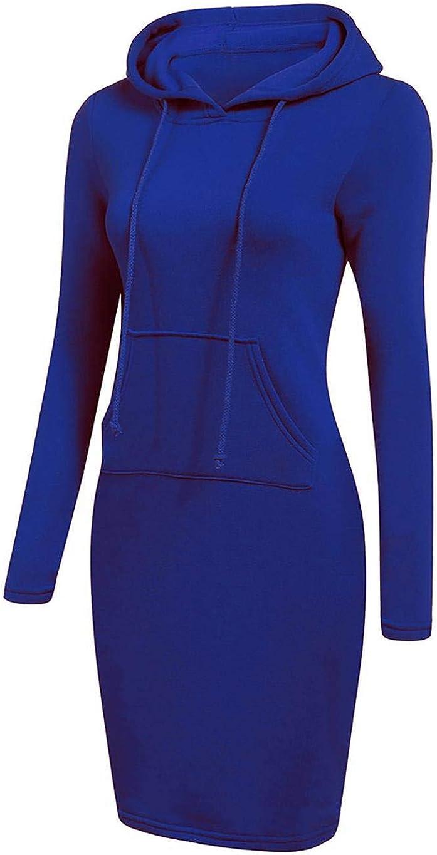sholdnut Women Casual Dress Hooded Long Sleeve Solid Hooide Dress Fashion Hoodies