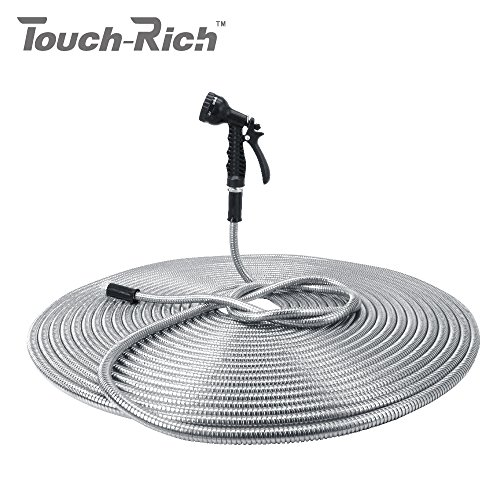 Garden Hose Pipe (100' 304 Stainless Steel Garden Hose, Lightweight Metal Hose with Free Nozzle, Guaranteed Flexible and Kink Free)