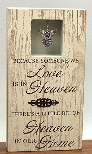 (HomeCrafts4U Wood Plaque Memorial Decorative Hanging Angel Figurine Wall Mount Sign Tabletop Stand Ornament Remembrance Love Heaven Statement Accent)