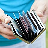 RFID Blocking Stainless Steel Credit Card Protector for Men and Women - Stylish Travel Wallet - Business, ID, Insurance, Debit, & ATM Card Holder Case