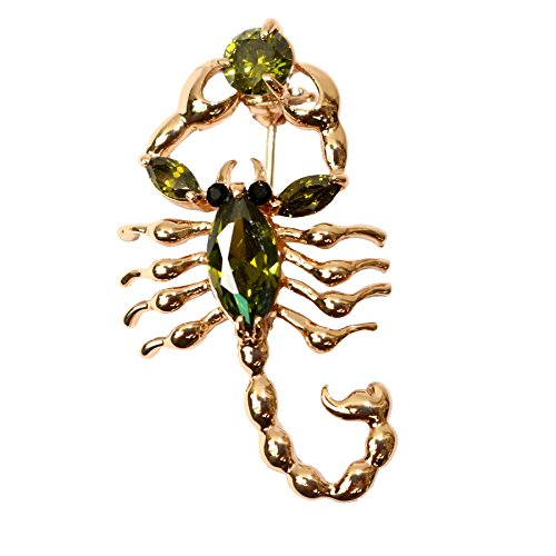 Navachi 18k Gold Plated Copper Green Cubic Zirconia Zircon Scorpion Az7065b Brooches ()