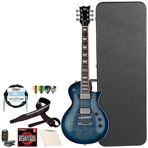 ESP LTD EC Series EC-256FM Flamed Maple Top Electric Guitar with ChromaCast Hard Case & Accessories, Cobalt - Ltd Case