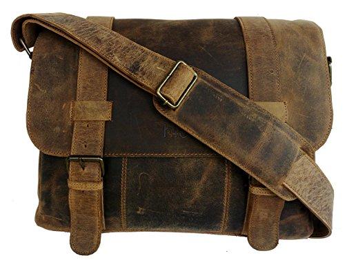 Handolederco. Barny Cuir de Buffle Messenger Sacoche pour ordinateur portable sacoche sac pour homme Crazy Cuir Vintage Messenger Sac à bandoulière Z7I1b