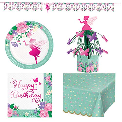 - Olive Occasions Floral Fairy Sparkle Happy Birthday Party Supplies Serves 16 Cake Plates, 16 Lunch Napkins, Banner, Table Cover, and Grandma Olive's Recipe