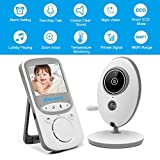 Video Baby Monitor Wireless with Digital Camera 2 Way Talkback, 2.4inch Screen Night Vision Temperature Monitoring Lullabies Long Range and High Capacity Battery for Security