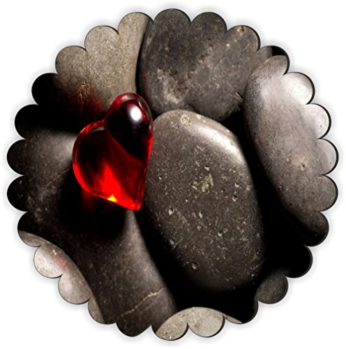 Rikki Knight Red Glass Heart on Pebbles Design Fancy Round Scallop Shaped Fridge Magnet