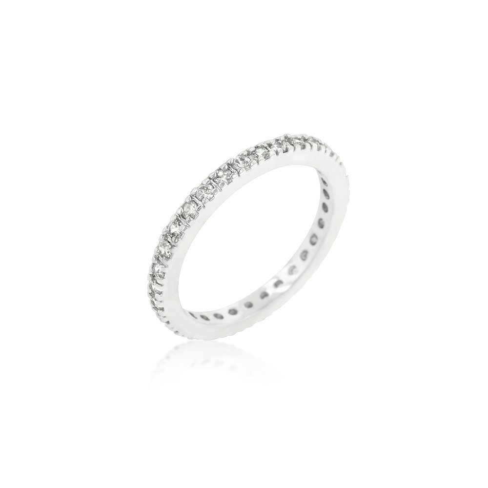Belle Cherie Classic Eternity Wedding Band Simulated Diamond Stackable Ring Total 1.5ct