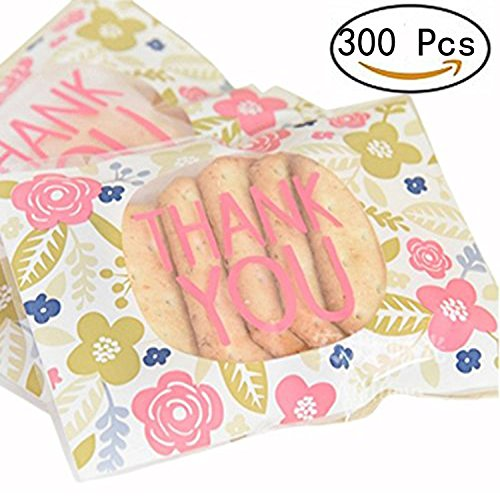 Kakasogo Cute Floral 300 Pcs Plastic THANK YOU Self-adhesive Cookie Candy Soap Packaging Bags Christmas Birthday Wedding Party Gift Set Paper Craft Cello Cellophane WrapBags