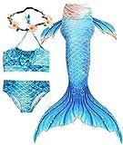 Sylaon 3PCS Girls Mermaid Tails for Swimming Princess Bikini 4th of July Swimwear Support Monofin (X-Large/9-10T/Tag 140, A Blue)
