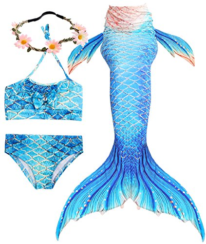 9d8be6ffba747 3 Pcs Girls Swimsuit Mermaid Tails for Swimming Sparkle Bikini Sets Cosplay  Mermaid Princess Can add