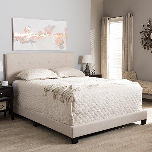Baxton Studio Grid-Tufted Platform Bed in Beige (Queen: 83.27 in. L x 64.17 in. W x 47.05 in. H)