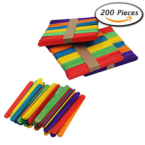 Paxcoo 200 Pcs Colored Wood Craft Sticks for Wedding Program Fan Handles and Other Wood Crafts (Wedding Shooting Target compare prices)