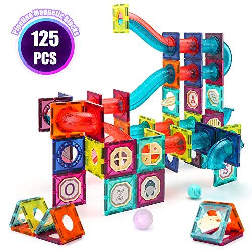 VATOS Magnetic Tiles, 125PCS Magnetic Building Blocks for Kids , 3D Magnet Tiles Pipeline Building Blocks Preschool…