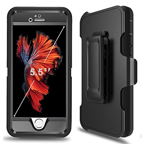 (iPhone 6 Plus Defender Case, iPhone 6s Plus Defender Case with Belt Clip, Kickstand, Holster, Heavy Duty, Built-in Screen Protector Rugged Rubber Case Compatible with iPhone 6 Plus/6s Plus(5.5