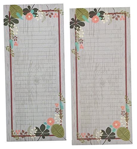 Green Notepad Set - Meadowsweet Kitchens Vintage Flowers Set of 2 Grocery List Notepads with Magnets, Gray/Green/Brown