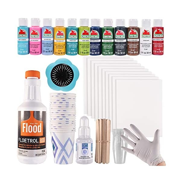 Acrylic-Paint-Pouring-Art-Supplies-148-pc-Beginner-Kit-Floetrol-Pouring-Medium-32-oz-Acrylic-Craft-Paints-Silicone-Oil-for-Cells-canvases-Gloves-Cups-Instructions-and-More