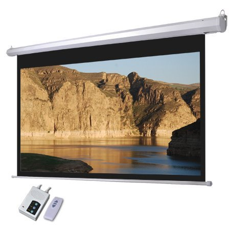 Electric Projector Matte White Screen 100'' 16:9 87x49 In. View Area Switch Auto Remote Control RC Wall Ceiling Mounted Steel Case for Home Office Projection Panel by Generic